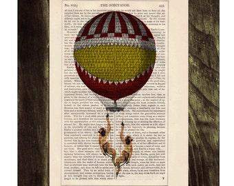 Dictionary print Funny monkeys on Hot air Balloon Print on Vintage Book - mixed media art TVH143