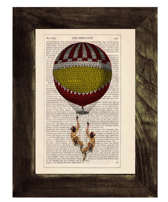 Spring Sale Dictionary print Funny monkeys on Hot air Balloon Print on Vintage Book - mixed media art BPTV143