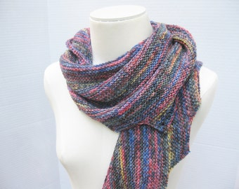 Spiral staircase shawl scarf blue multi hand knit wool