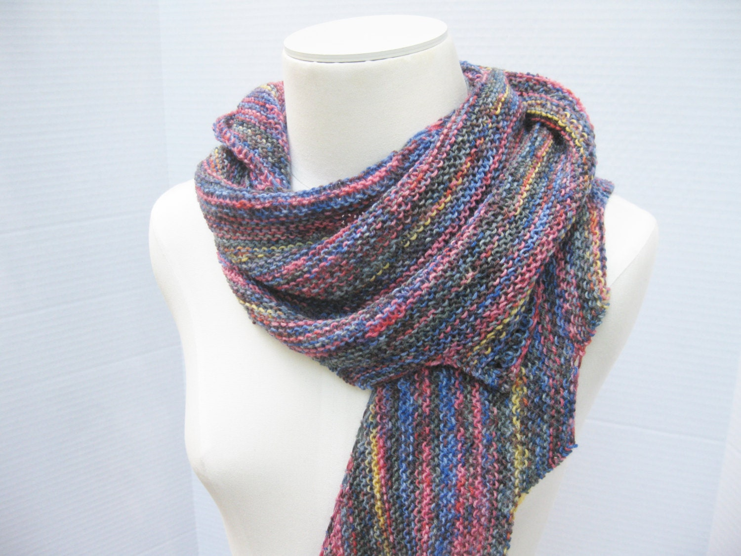 Free Knitting Pattern For Spiral Scarves : Spiral staircase shawl scarf blue multi hand knit wool