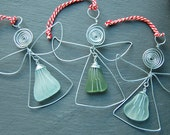 Christmas Sea Glass Angel Decoration-Handmade wire and genuine Scottish sea glass tree ornament