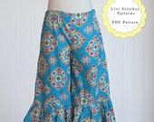 Livi Ruffle Pants Pattern- Double Ruffle Pants Pattern- Instant Download PDF Ruffle Pants Sewing Pattern- Capri Ruffle Pants Sewing Pattern