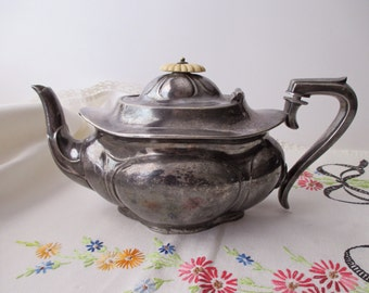 antique Shefield Co teapot - silver plate, electroplated Britannia, made in England