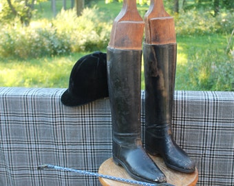 Vintage European Leather Riding Boots & Wood boot stretchers- free shipping in US