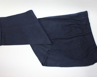 "vintage 1950's Men's wool flannel pants. Pleat front - Drop loop - Tapered leg. Navy Blue with Gray fibre accent.  38"" waist"