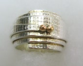 Engagement Sterling Silver and 14K Gold Scroll Wrapped Ring // Handmade Jewelry // Ready to Ship - Size 7.5