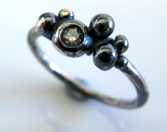 Wedding Jewelry - Engagement Diamond Ring -  Oxidizes Silver Dewdrops Ring with Diamond - Handmade Organic Ring