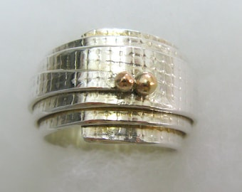 Engagement Sterling Silver and 14K Gold Scroll Wrapped Ring. Handmade Jewelry. Ready to Ship - Size 7.5