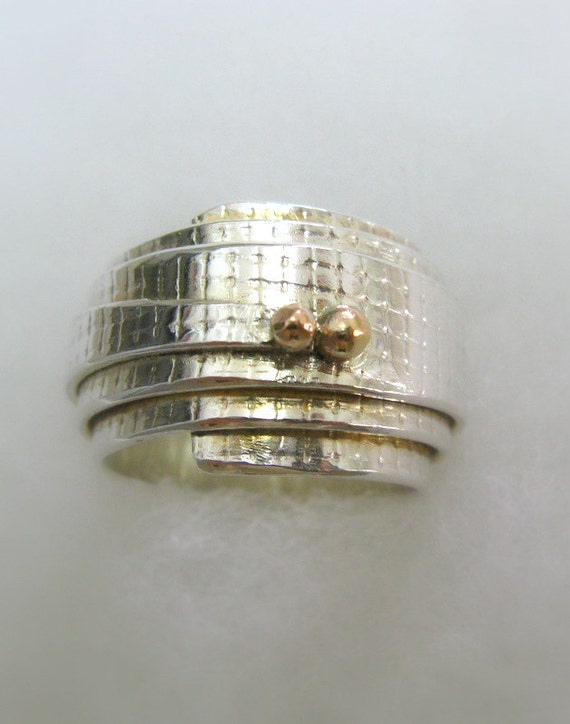 Engagement Sterling Silver and 14K Gold Scroll Wrapped Ring - Handmade Jewelry - Ready to Ship - Size 7.5