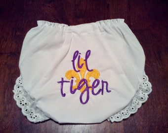 Lil Tiger Bloomers, baby girl bloomers, embroidered bloomers