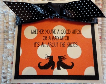 Halloween Witches Shoes Mini Cards  Set of 4