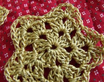Crochet Stars Gold Holiday Christmas - set of 12