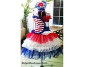 Pageant OOC Patriotic RWB Glitz stars and straps USA Flag 4 July Costume - Custom order for Norma Elam