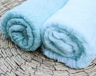 Hand-Dyed Cheesecloth Wrap Duo--Premium Hand-Dyed Cheesecloth Baby Wrap Two Pack Photo Prop in Sea Greens