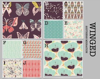 Crib Bedding- Design Your Own Bedding- Dorm Bedding- Duvet Cover- Winged Southern Migration- coral, green, gray, plum