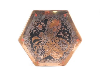 Art Deco Chocolate Tin Artstyle Hinged Footed Brass Octagon Asian Decor