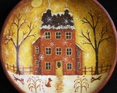 Christmas Folk Art - Original Hand Painted Vintage Primitive Wood Bowl Winter Scene Four Foxes, Country Red Saltbox House, Snowy Night, Moon