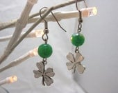Bright Green Crab Agate and Four leaf Clover Dangle Earrings