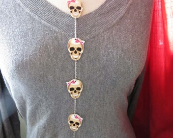 Statement Halloween Jewelry Skull Necklace Gift Unique Lariat Long Chain Trend