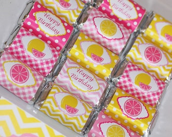 Pink Lemonade Mini Candy Bar Wrappers Birthday Party favors  PRINTABLE Pink Yellow Lemonsl favors treats INSTANT DOWNLOAD diy