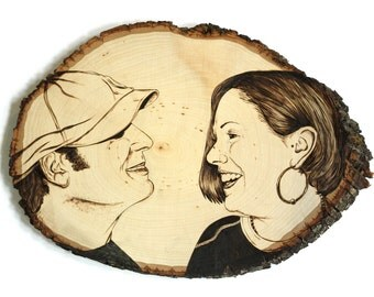 Rustic wood tree slice art decor personalized Anniversary/Wedding Gift