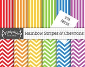 8.5x11 Chevron Digital Paper, Letter Size Rainbow Digital Scrapbook Paper, Striped Paper, Instant Download, Commercial Use