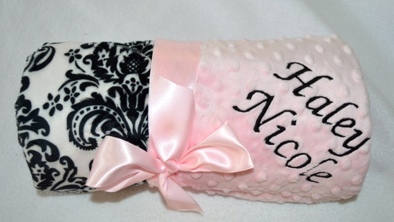 Monogrammed Minky Baby Blanket - Pink with Black and White Damask - Personalized