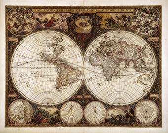 Antique world maps, Old world map, ancient maps, Historical maps, antique map, #14