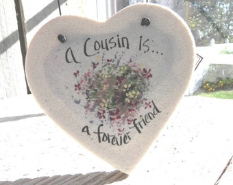 Cousin Gift Salt Dough Heart Ornament / Birthday / Valentine's Day / Christmas Ornament