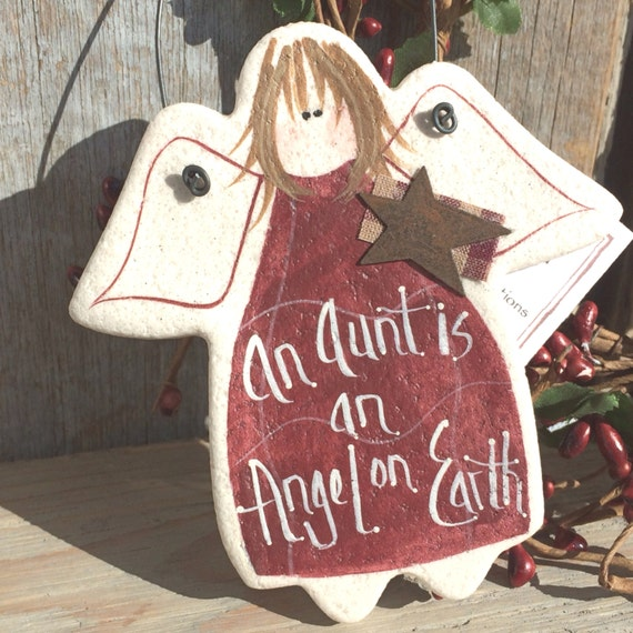 Aunt Salt Dough Gift Ornament Angel Mother's Day / Aunt Birthday or Xmas