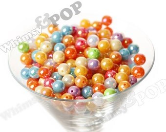 MIXED Color Glossy AB Gumball Beads, Opaque Acrylic Round Beads, 10mm Beads, 1mm Hole