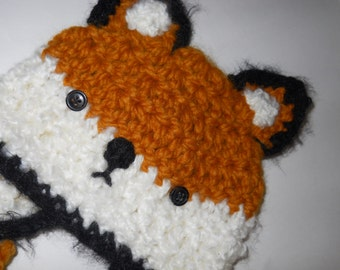 Crochet Baby Fox Hat with Earflaps and Ties