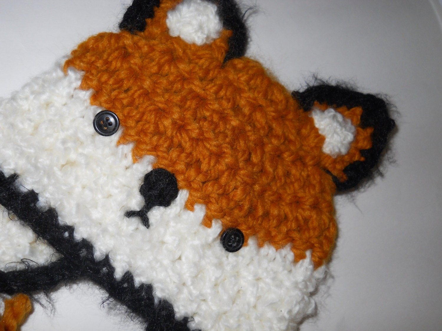 Crochet Fox Hat : Crochet Baby Fox Hat with Earflaps and Ties by OregonFarmhouse