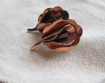 Vintage Renior Copper Calla Lilly Earrings