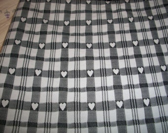 Black & White Stripes and Hearts Polyester Fabric Yardage
