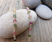 Chain 45 cms -18 inches - Sterling silver and watermelon tourmaline