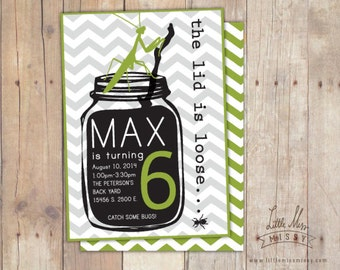 Praying Mantis, Bug Jar Invite for Birthday, Baby Shower