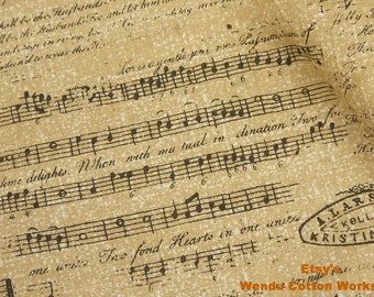 Music Score Collage  - Cotton Fabric - S1F2 - Fat Quarter