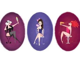 Set of 3 Pin Up Girl Art Prints