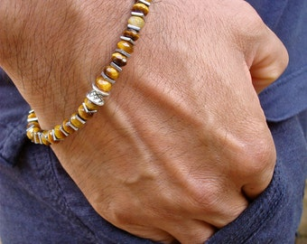 Men's Minimalist Spiritual Protection and Good Fortune Bracelet with Semi Precious Faceted Tiger's Eye, Hematite and Bali Bead