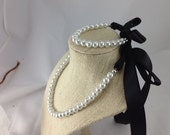 White pearls and black ribbon junior bridesmaid or flower girl necklace and bracelet