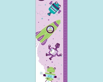 Personalized Outer Space Canvas Growth Chart - Blast Off