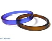 Wine Bottle Bangle Bracelets, Royal Blue and Cognac Brown, Fused Glass Jewelry, Eco Friendly Gift, Dessin Creations