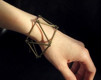 Geometric link bracelet, modern minimalist geo jewelry, antique brass tone
