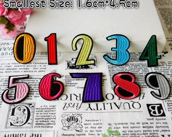Iron on Fabric Patches - Colorful Numbers - Set of 10 - FP73