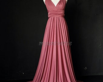 Dark Pink Bridesmaid Dress Wrap Infinity Dress Wedding Gown Convertible Dress Formal Evening Gown