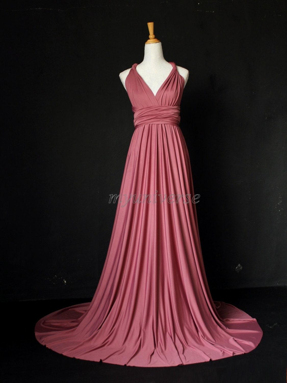 Dark Pink Bridesmaid Dress Wrap Infinity Dress Wedding Gown