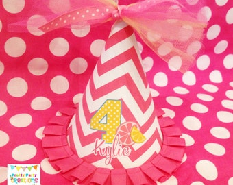Personalized PINK LEMONADE party hat - Digital file only - YOU print