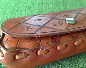 Hand Tooled Leather EYEGLASSES Case Snap Close