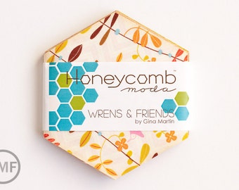 Wrens and Friends Honeycomb, Gina Martin, Moda Fabrics, Pre-Cut Fabric Hexagons, 10000HC
